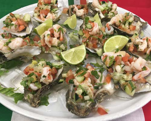 Mexican Style Oysters on the Halfshell